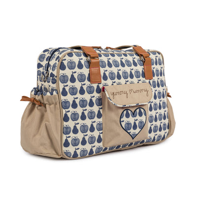 7b32b95fd4c28 Yummy Mummy Navy Apples & Pears Changing Bag | Pink Lining