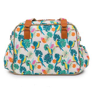 Pink Lining Blooming Gorgeous Parrot design, large baby changing bag