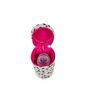 Pink Lining insulated baby bottle holder, a baby travel essential to accessorise with a matching Dalmation Fever baby changing bag