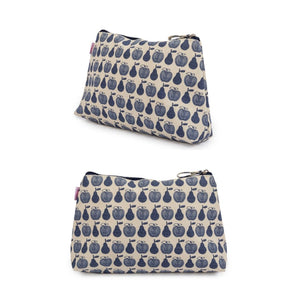 NOTTINGHILL TOTE - APPLES AND PEARS BLUE Bundle  incl: Stroller Org, Wash Bag, Bottle Holder, Wallet