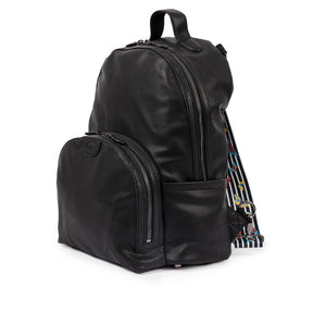 Pink Lining vegan leather Shoreditch Black backpack