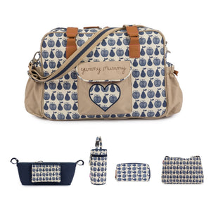 YUMMY MUMMY- APPLES AND PEARS BLUE Bundle  incl: Stroller Org, Wash Bag, Bottle Holder, Wallet
