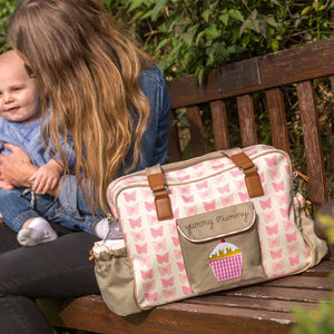 Pink Lining Yummy Mummy Pink Butterflies Baby Changing Bag