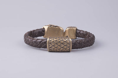 Brown Braided Leather Bracelet With Bronze Ouroboros Viking