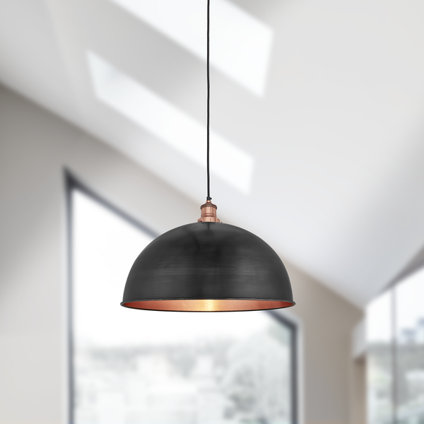 dome pendant light. Brooklyn Vintage Metal Dome Pendant Light - Dark Pewter \u0026 Copper 18 Inch I