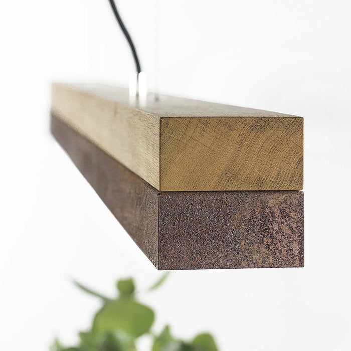 Oak & Corten Steel Bar Pendant Light