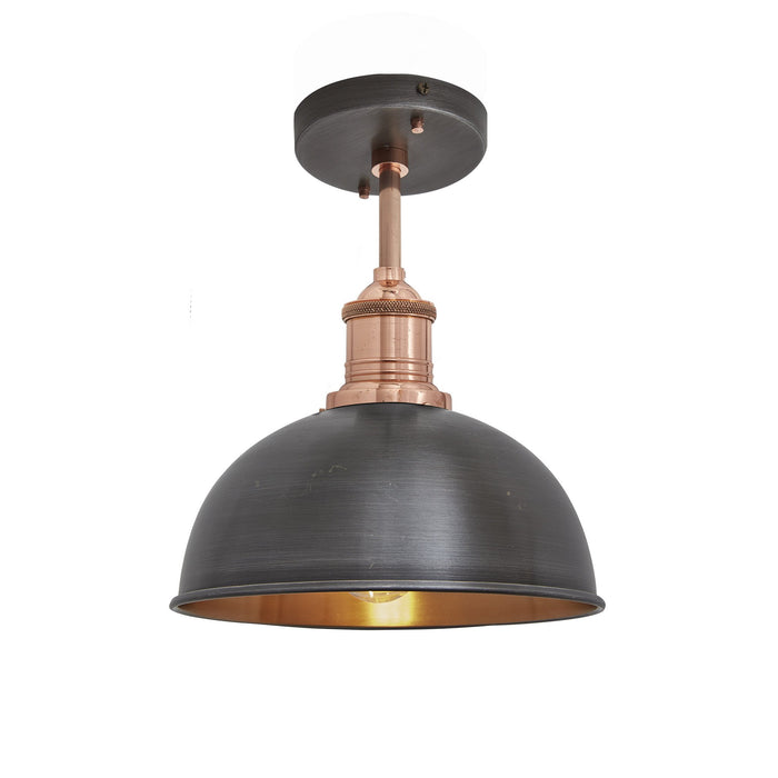 Brooklyn Vintage Metal Dome Flush Mount Light - Dark Pewter & Copper - 8 inch