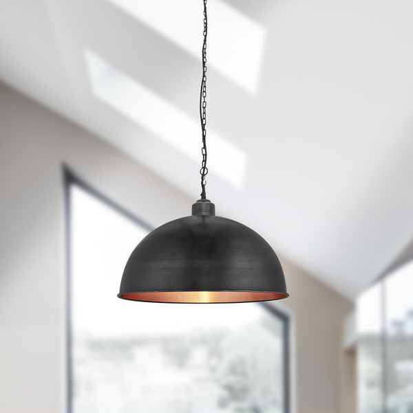 Brooklyn Vintage Metal Dome Pendant Light - Dark Pewter & Copper - 18 inch