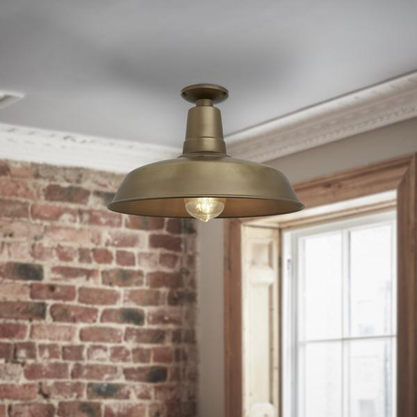 Vintage 12'' Industrial Flush Mount Farmhouse Ceiling Light