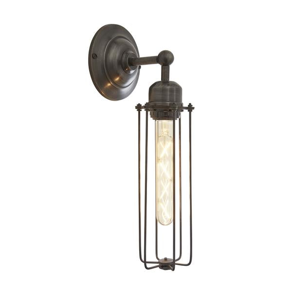 Orlando Cylinder Wire Cage Retro Sconce Wall Light - Dark Pewter