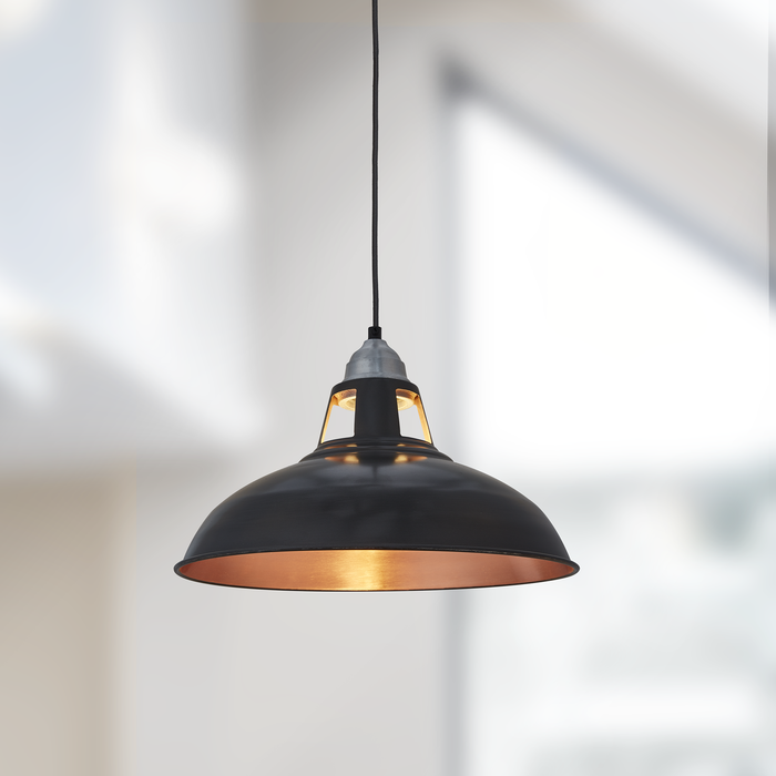 Old Factory Slotted Vintage Pendant Light - 15 inch