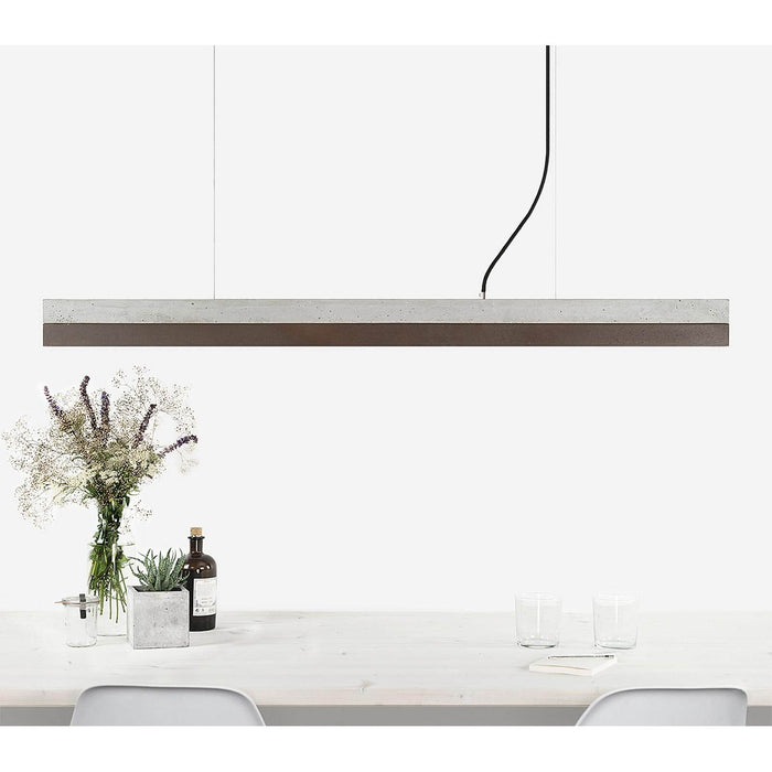 Concrete & Corten Steel Bar Pendant Light