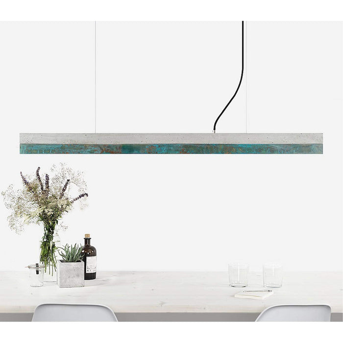Concrete & Oxidised Copper Bar Pendant Light