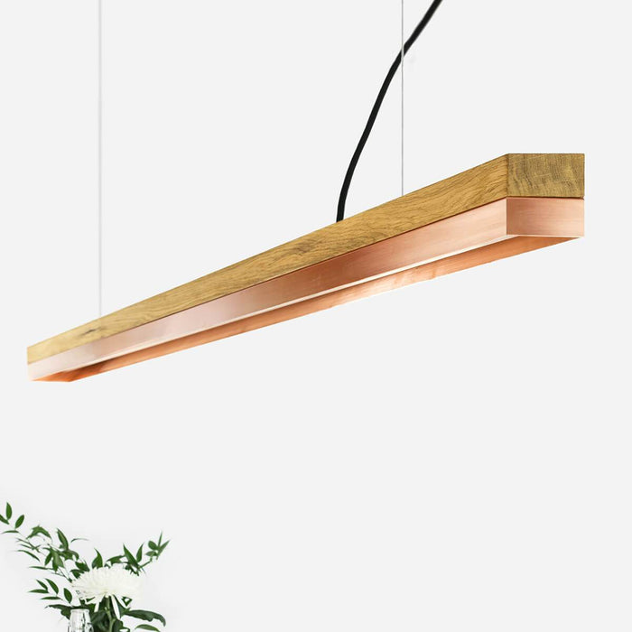 Oak & Copper Bar Pendant Light