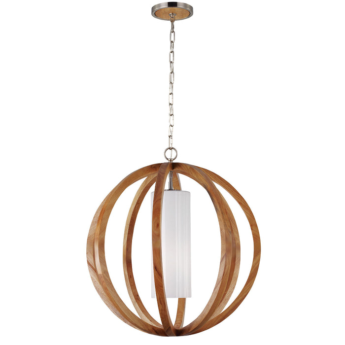 Feiss Allier Large Ceiling Pendant Light in Light Wood / Brushed Steel