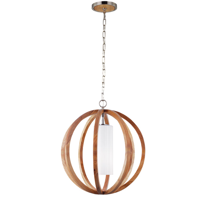 Feiss Allier Small Ceiling Pendant Light in Light Wood / Brushed Steel