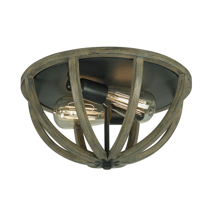 Feiss Allier Flush Ceiling Light in Weather Oak Wood