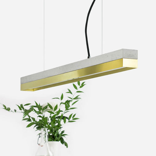 grey concrete and brass rectangular pendant light