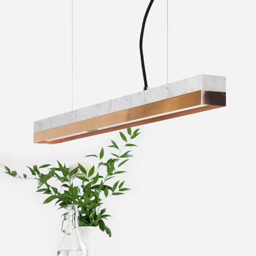 rectangular white Carrara marble and copper bar pendant light