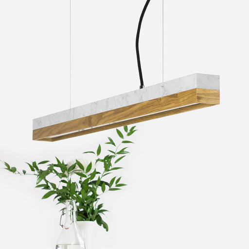 carrara marble and oak bar pendant light