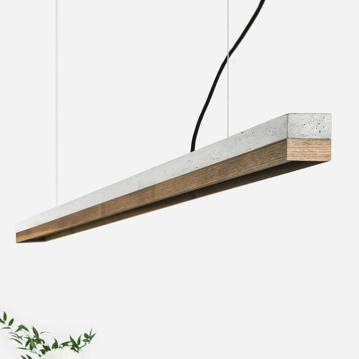 Concrete & Walnut Bar Pendant Light