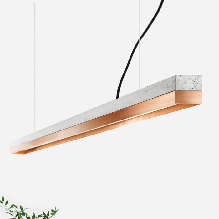 Concrete & Copper Bar Pendant Light