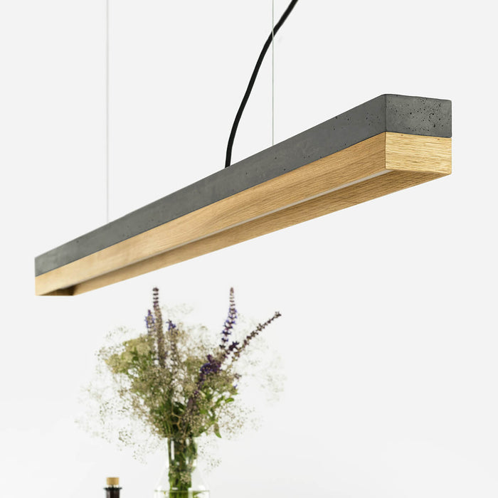 Concrete & Oak Bar Pendant Light