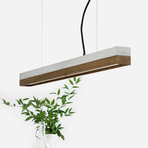light grey concrete and walnut pendant light