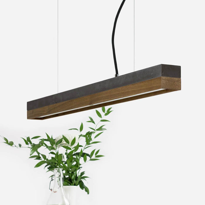 dark grey concrete and walnut pendant light