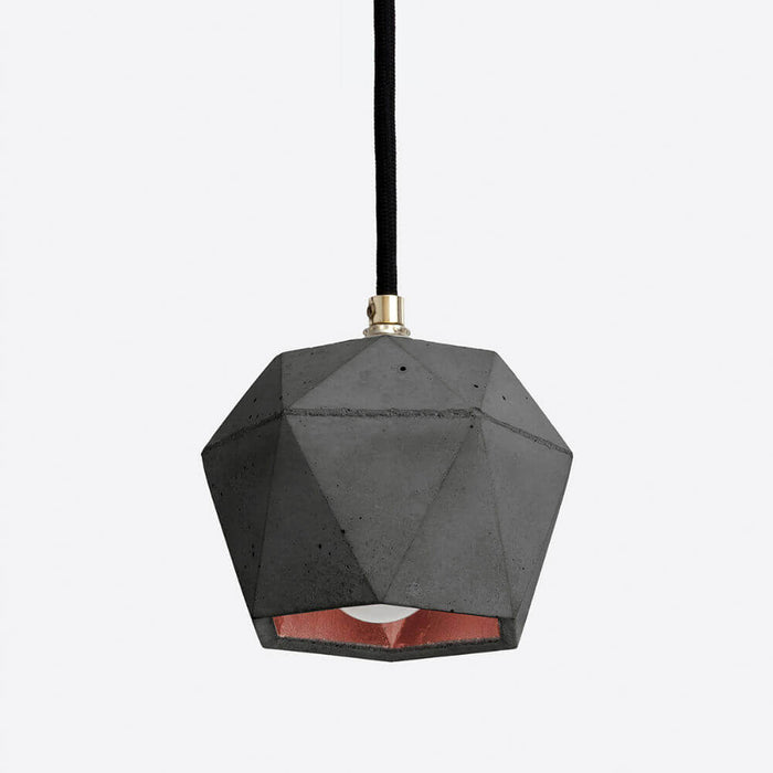 dark grey concrete pendant light with pink copper colour interior