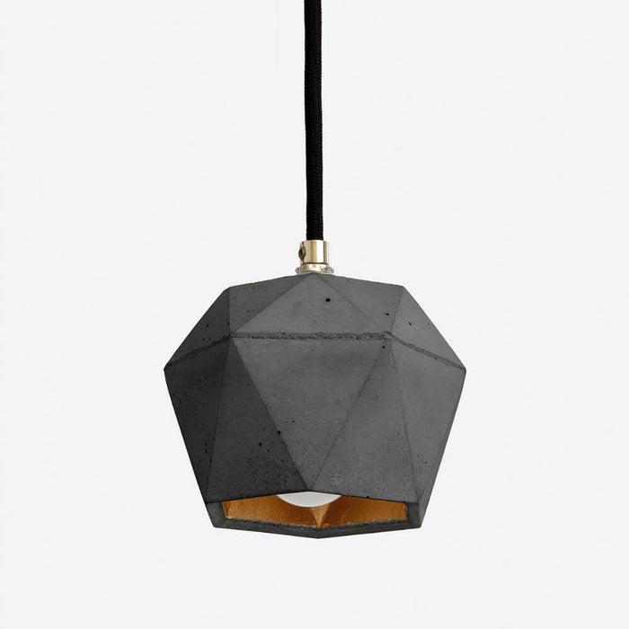 dark grey concrete pendant light with gold colour interior