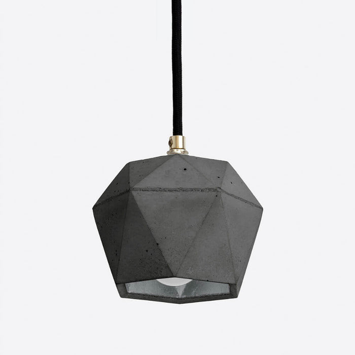dark grey concrete pendant light with silver colour interior