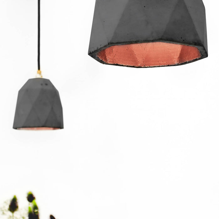 Concrete Triangle Pendant Light with Copper interior by GANTlights