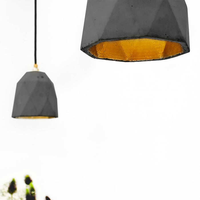 Concrete Triangle Pendant Light with Gold interior by GANTlights