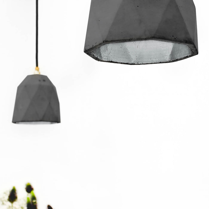 Concrete Triangle Pendant Light with Silver interior by GANTlights