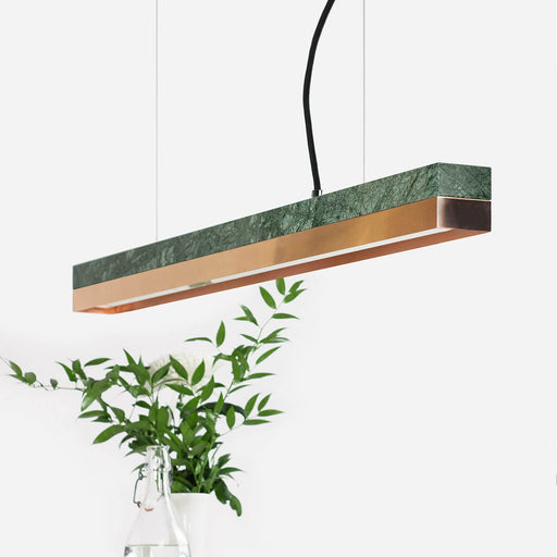 rectangular green Guatemala marble and copper bar pendant light