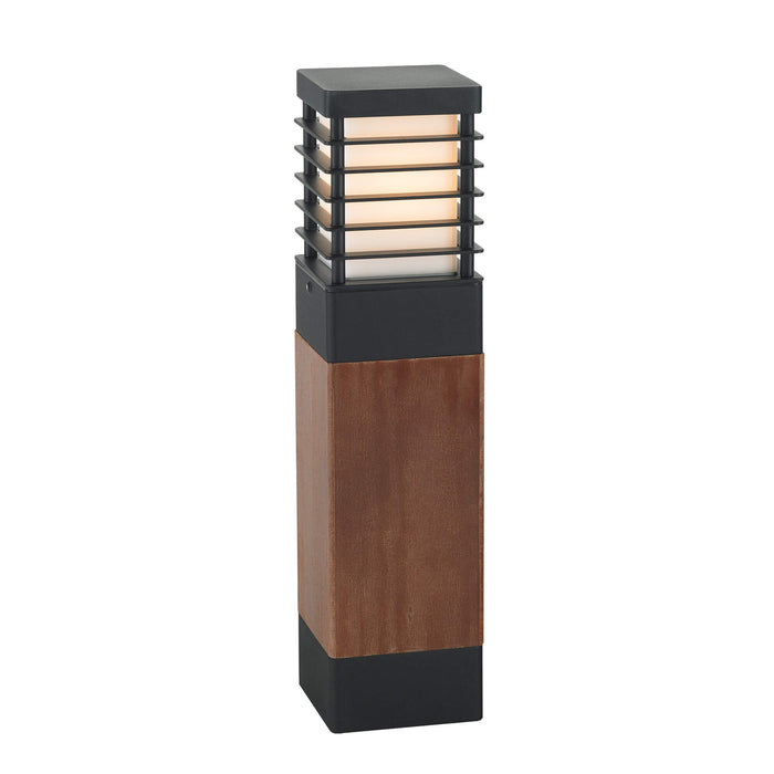 Halmstad Scandinavian Wood with Black Detail Bollard Light