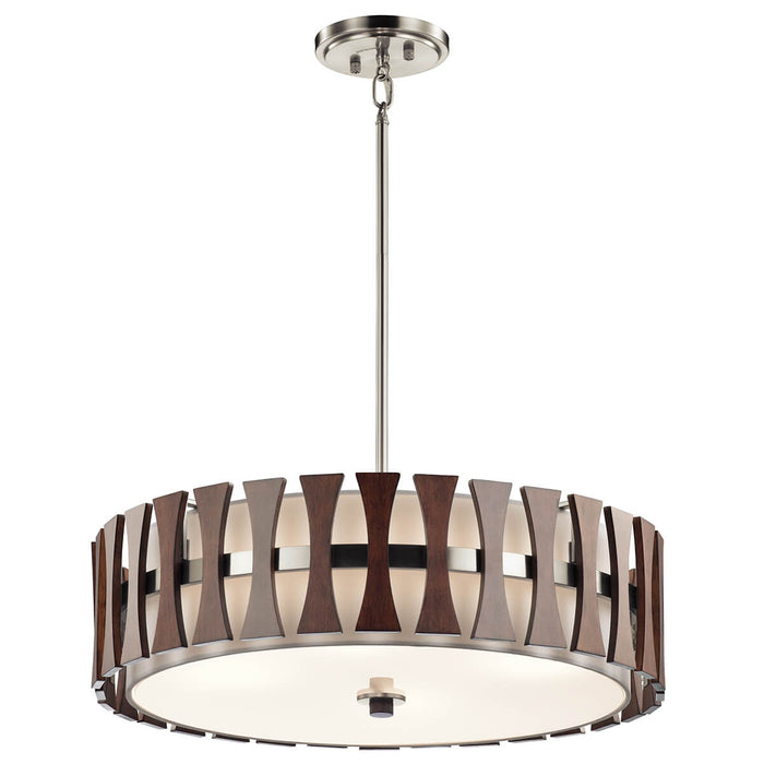 4 Light Pendant Ceiling Light in auburn stained wood finish