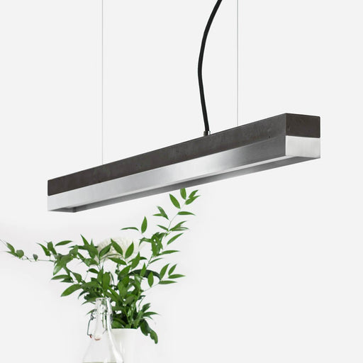 Dark grey concrete and stainless steel pendant light