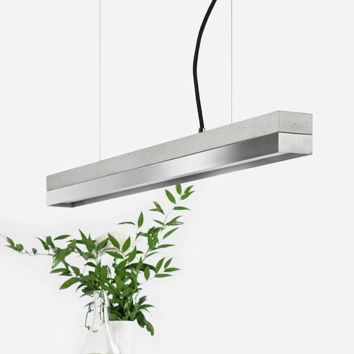 Light grey concrete and stainless steel pendant light