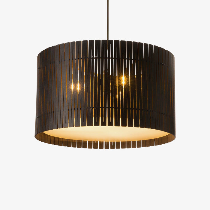 dark brown wood drum pendant light