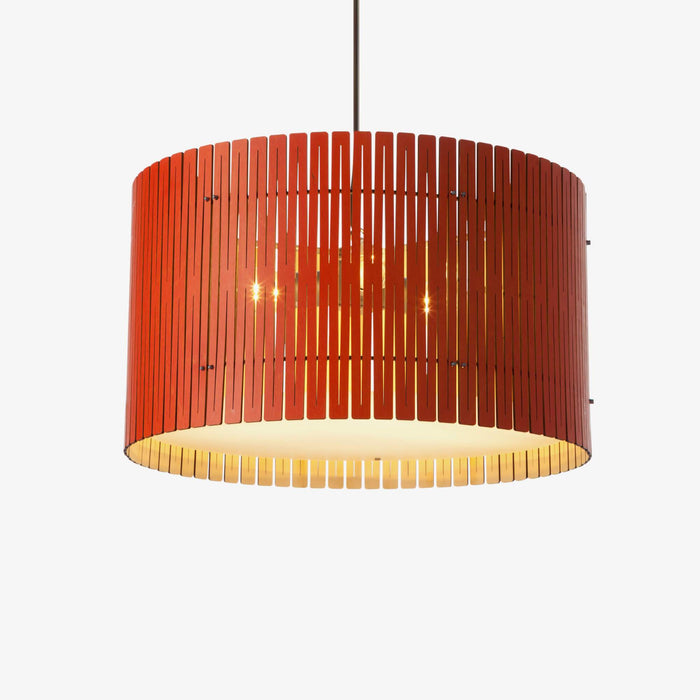 red wood drum pendant light