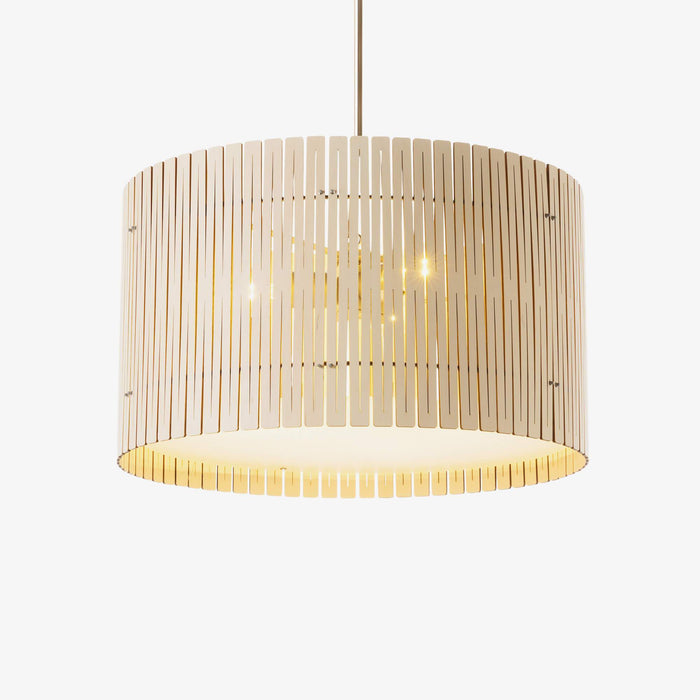 white wood drum pendant light