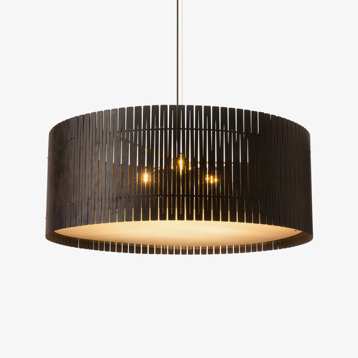 dark brown birch plywood drum pendant light