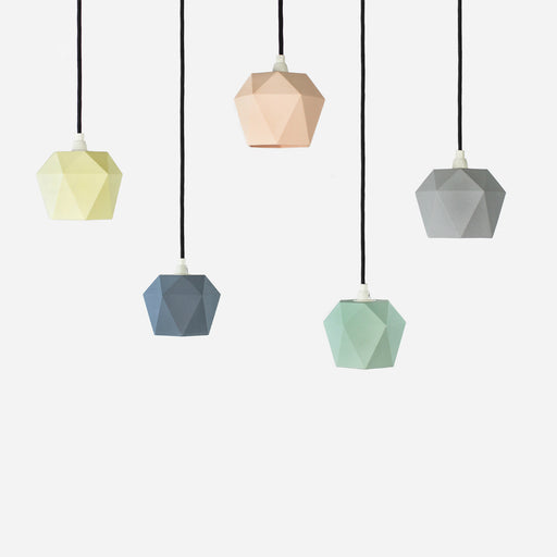 opaque geometric pendant lights in pastel tones