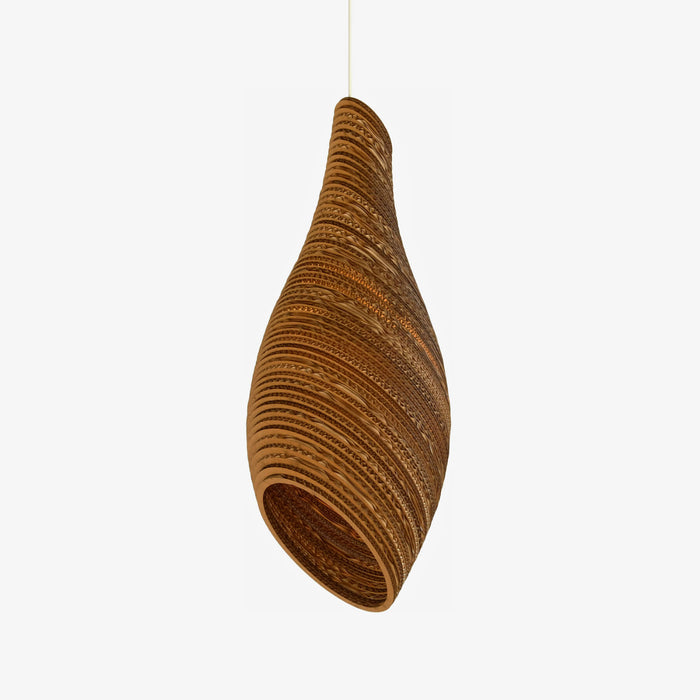wasp nest shaped brown cardboard pendant lamp