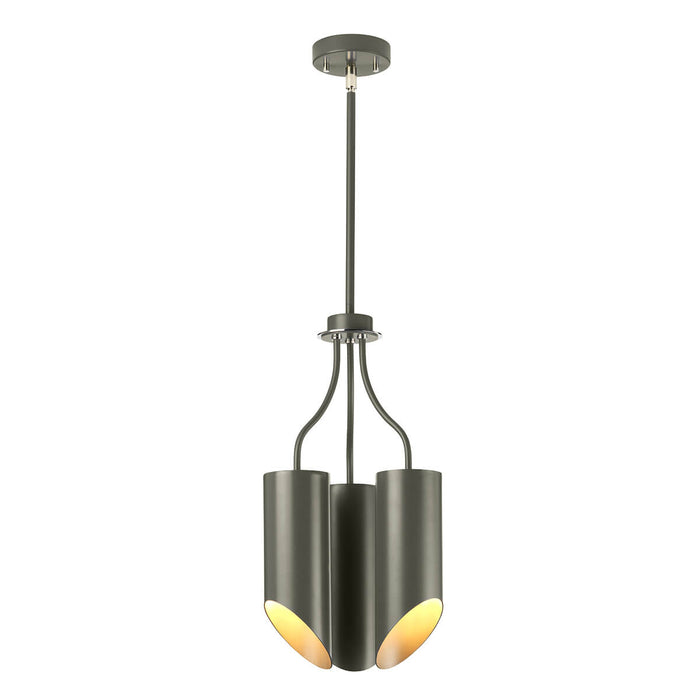 Quinto 3 Light Pendant Light in Dark Grey Polished Nickel