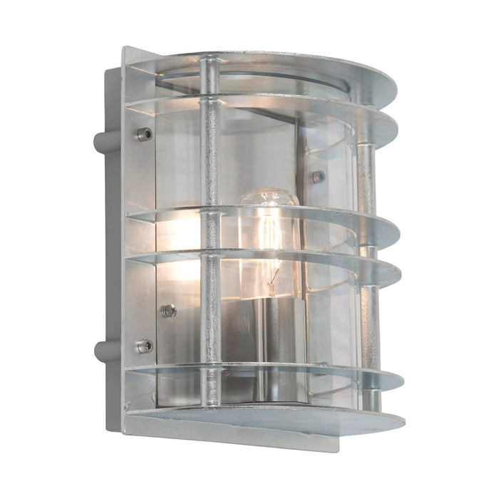 Stockholm Flush Outdoor Wall Light in Galvanised Clear