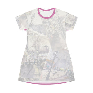 All Over Print T-Shirt Dress Showing the Cafes of Newburyport as depicted by Richard Burke Jones