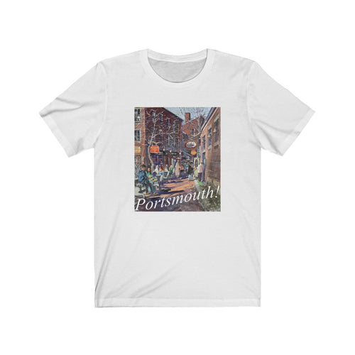 Commercial Alley Portsmouth! Artwork by Richard Burke Jones Unisex Jersey Short Sleeve Tee